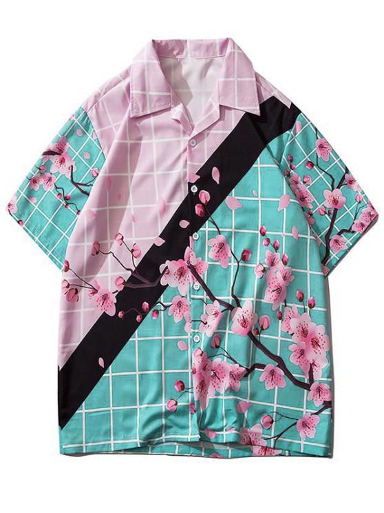Xadrez Color Block Flor Xadrez Camisa - Seda de Azul S