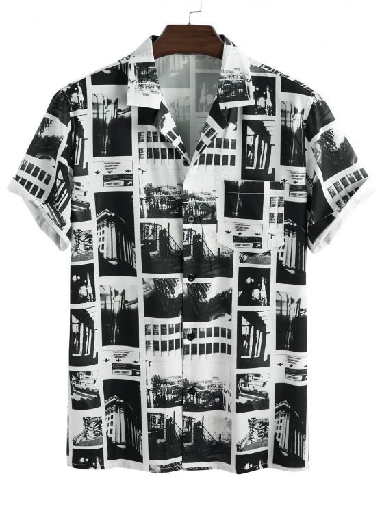 Vintage Patchwork Short Sleeve Shirt - أبيض 2XL