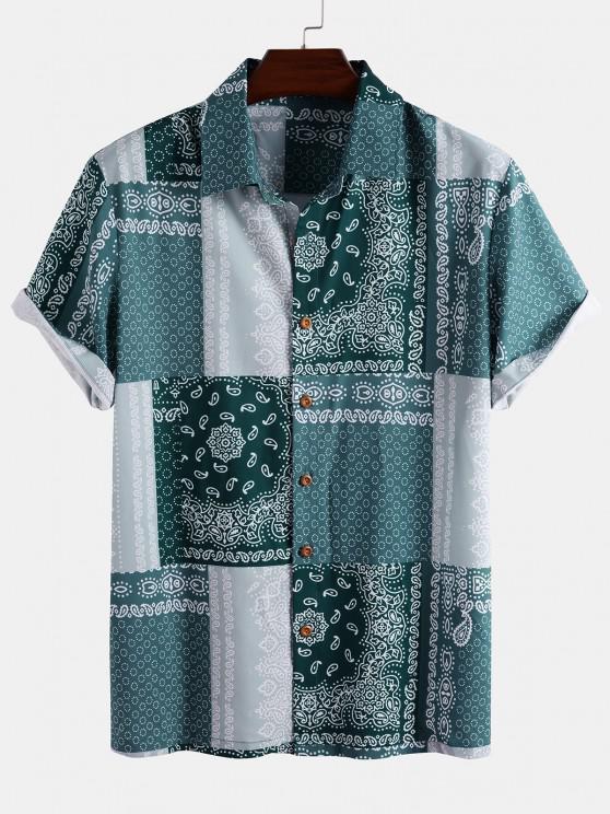 Bandana Patchwork Short Sleeve Shirt - أزرق فاتح M