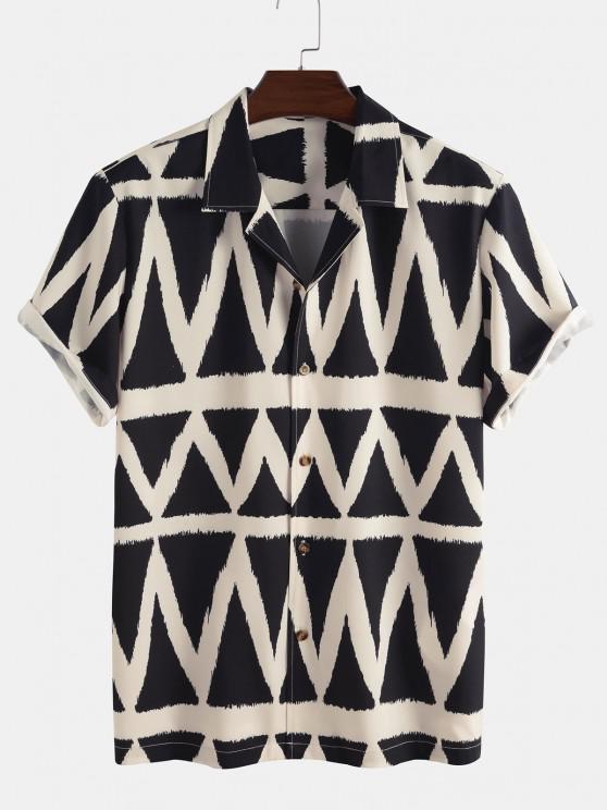 latest Geometric Pattern Short Sleeve Shirt - BLACK XL