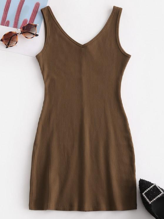 Double V Ribbed Tank Dress - قهوة S