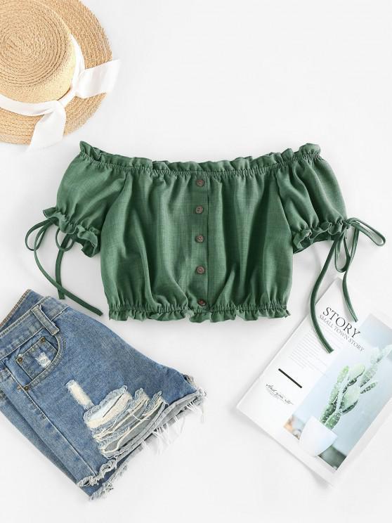 shops ZAFUL Off Shoulder Ruffle Mock Button Crop Blouse - DEEP GREEN M