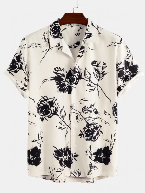 trendy Short Sleeve Rose Shirt - WHITE S