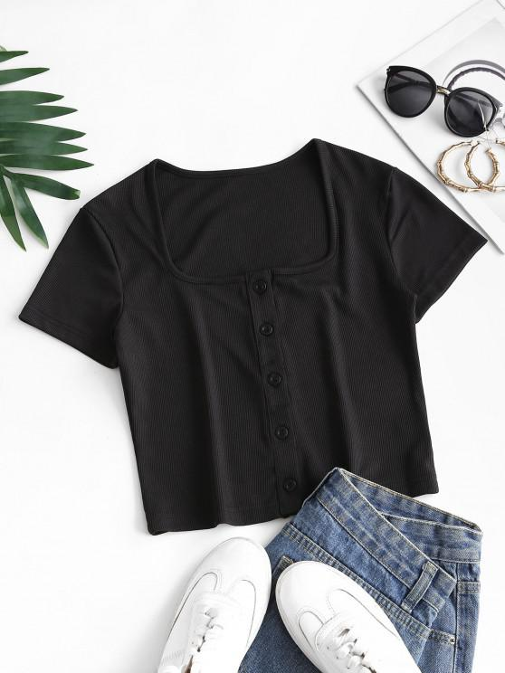 shops Ribbed Snap Button U Neck Crop Te - BLACK S