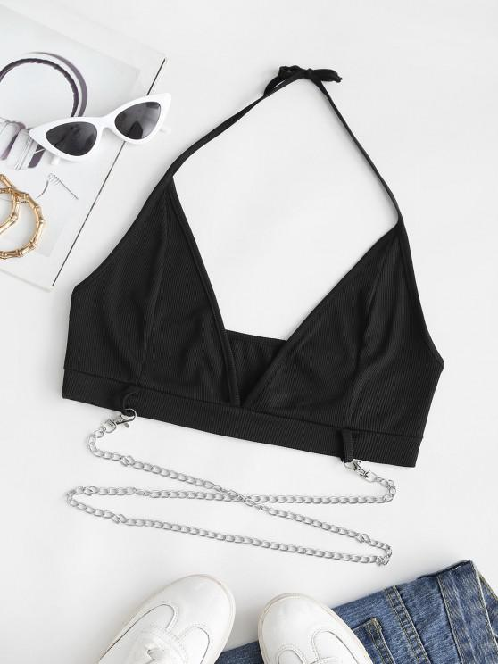 outfits Ribbed Halter Tie Chains Crop Top - BLACK M