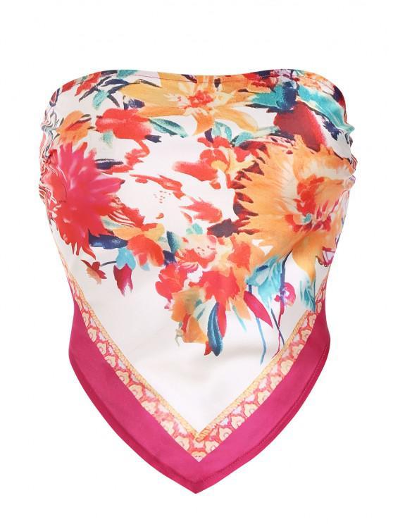 Tie Back Floral Scarf Tube Top - أحمر L