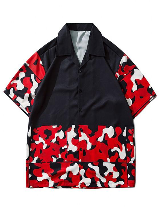 latest Camouflage Pattern Short Sleeve Shirt - LAVA RED 2XL