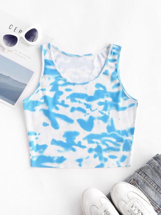fashion Tie Dye Ribbed Crop Tank Top - LIGHT BLUE L