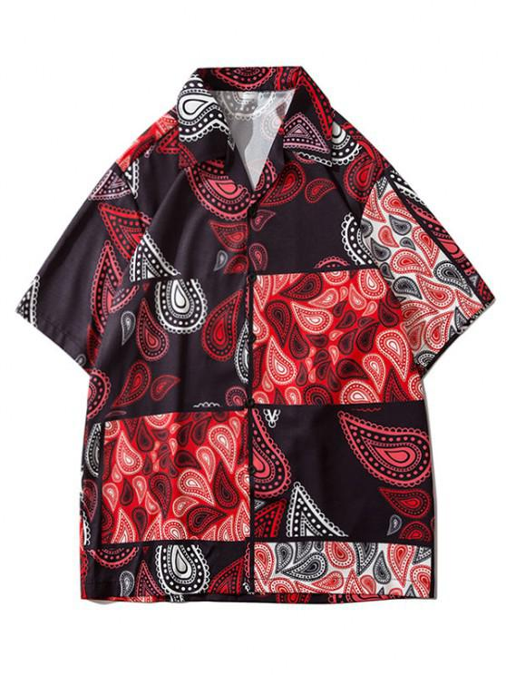 Paisley Patchwork Short Sleeve Shirt - أحمر XL