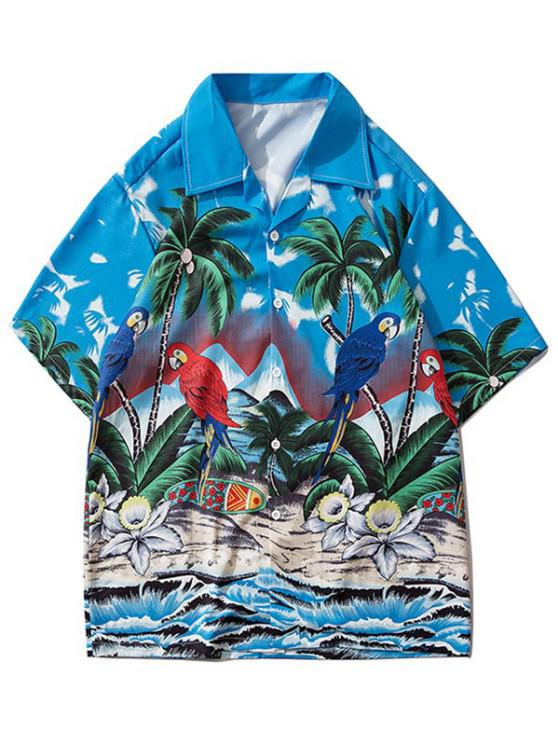 womens Palm Tree Parrot Beach Scenery Vacation Shirt - SILK BLUE S