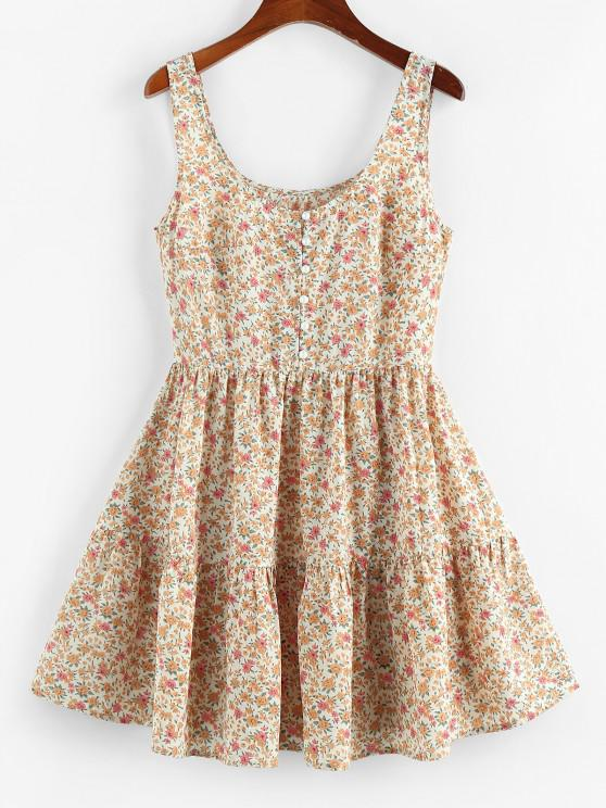 ladies ZAFUL Ditsy Floral Ruched A Line Tank Dress - LIGHT COFFEE L
