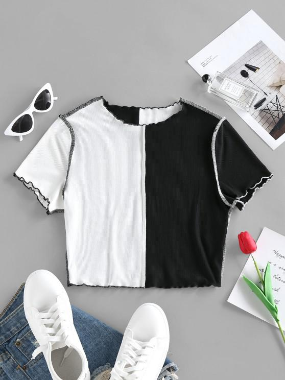 affordable ZAFUL Topstitching Colorblock Cropped T Shirt - BLACK M