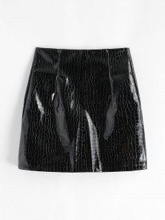 Patent Leather Snakeskin Mini Skirt - Black M