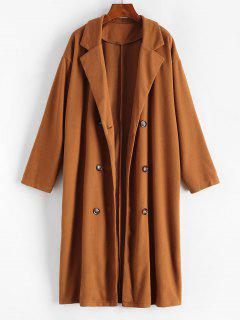 Longline Double Breasted Wool Blend Coat - Brown Bear L