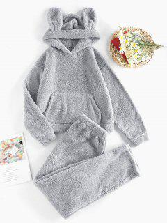 ZAFUL Plush Ear Hooded Drop Shoulder Pajama Pants Set - Gray M