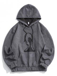 Graphic Print Front Pocket Suede Hoodie - Gray L