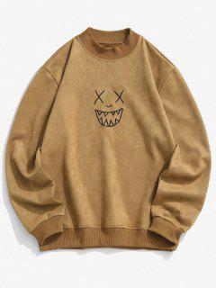 Smile Face Embroidered Suede Sweatshirt - Light Brown S