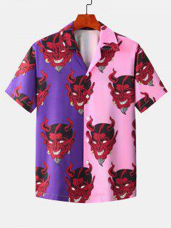 Camicia Bicolore Con Motivo Di Diavolo - Iris Porpora L