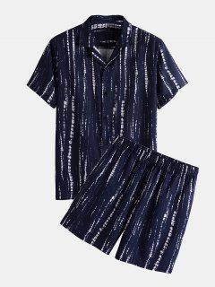 Krawattenfärbende Knopf Streifen Hemd Und Shorts Set - Tiefes Blau Xl