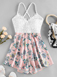 ZAFUL Guipure Flower Criss Cross Wide Leg Romper - Light Pink S