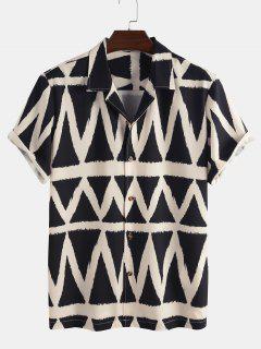 Geometrisches Muster Kurzarm Hemd - Schwarz S
