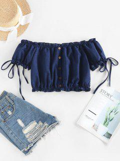ZAFUL Off Shoulder Ruffle Mock Button Crop Blouse - Deep Blue S