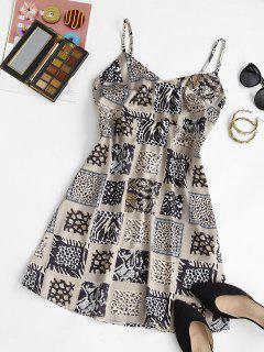 Zebra Leopard Smocked Back Mini Dress - Light Coffee M