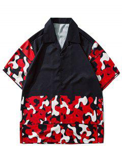 Camouflage Pattern Short Sleeve Shirt - Lava Red L