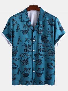 Wish You Were Here Elf Print Short Sleeve Shirt - Blue S