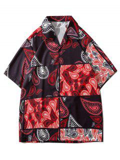 Paisley Patchwork Short Sleeve Shirt - Red 2xl