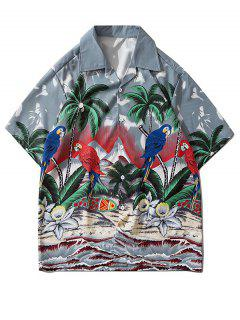 Palm Tree Parrot Beach Scenery Vacation Shirt - Gray Cloud L