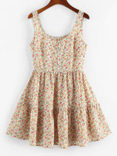 ZAFUL Ditsy Floral Ruched A Line Tank Dress - Light Coffee M
