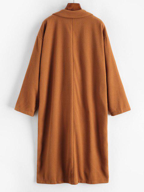 Longline Double Breasted Wool Blend Coat - دب بنى L Mobile