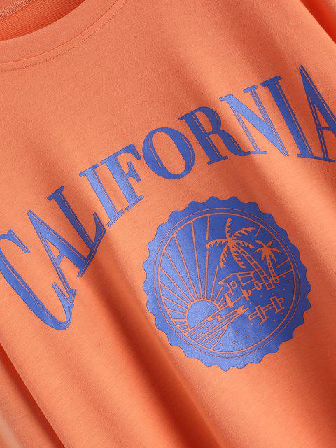 womens Oversize CALIFORNIA Graphic Sweatshirt - LIGHT ORANGE S Mobile