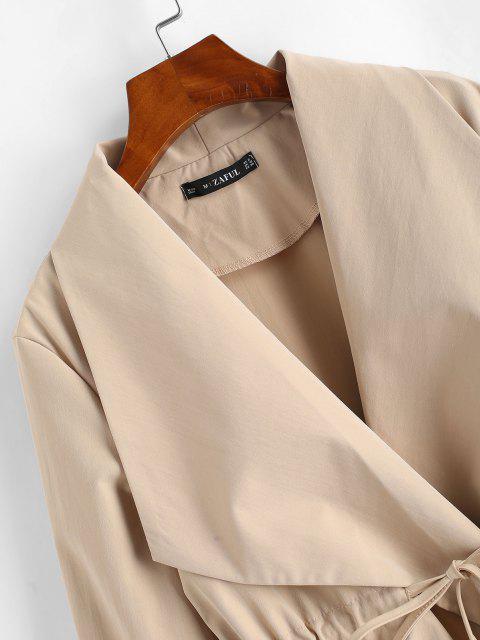 Abrigo Falda Cuello Cintura Ajustable Bolsillos - café luz L Mobile
