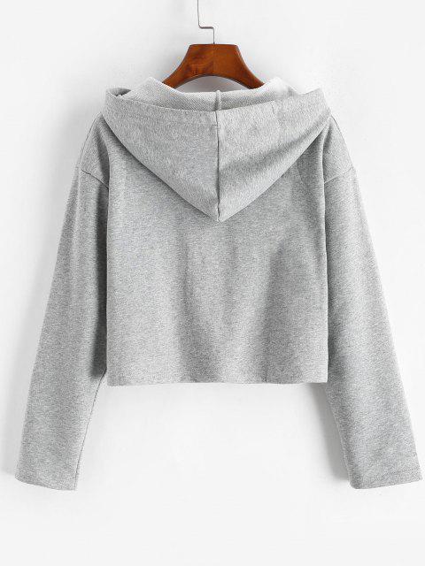 Drawstring Drop Shoulder Zip Up Hoodie - سحابة رمادية M Mobile