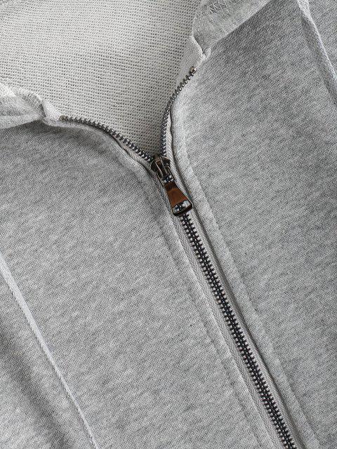 women's Drawstring Drop Shoulder Zip Up Hoodie - GRAY CLOUD M Mobile