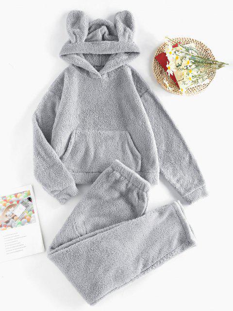 outfits ZAFUL Plush Ear Hooded Drop Shoulder Pajama Pants Set - GRAY S Mobile