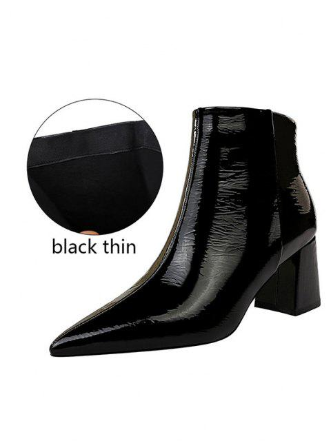 shop Patent Leather Pointed Toe Chunky Heel Boots - BLACK EU 37 Mobile
