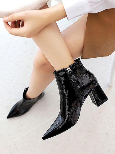 shops Patent Leather Pointed Toe Chunky Heel Boots - BLACK EU 38 Mobile