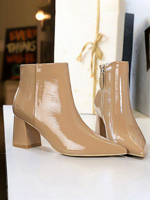 unique Patent Leather Pointed Toe Chunky Heel Boots - KHAKI EU 40 Mobile