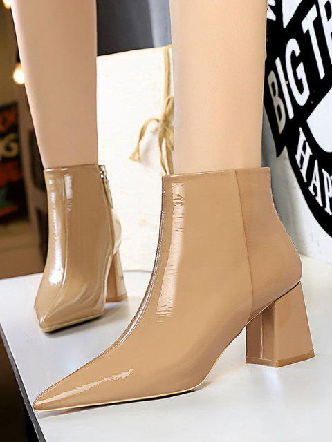 Patent Leather Pointed Toe Chunky Heel Boots - كاكي الاتحاد الأوروبي 40 Mobile