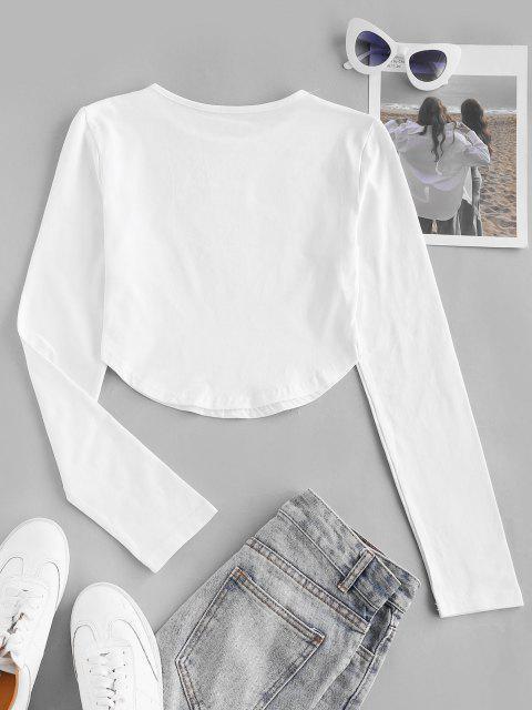 T-shirt de Base Court Manches Longues à Ourlet Courbe - Blanc L Mobile