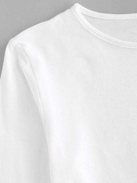 affordable Basic Long Sleeve Curved Hem Crop T Shirt - WHITE S Mobile