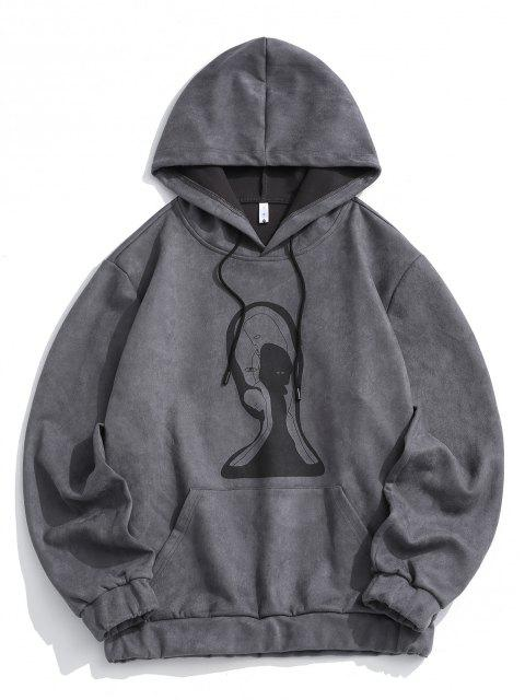 online Graphic Print Front Pocket Suede Hoodie - GRAY 2XL Mobile