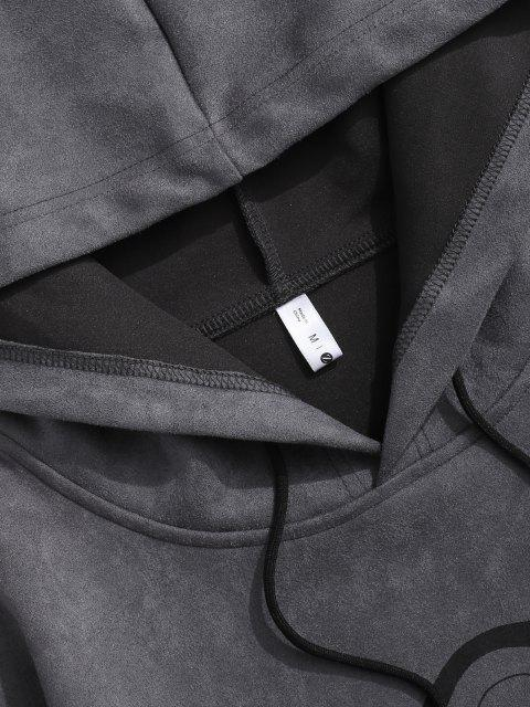 new Graphic Print Front Pocket Suede Hoodie - GRAY L Mobile