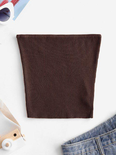 new Plain Knitted Tube Top - DEEP COFFEE M Mobile