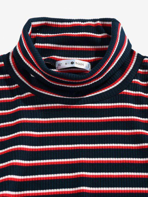lady ZAFUL Turtleneck Striped Print Ribbed T-shirt - DEEP BLUE XXL Mobile