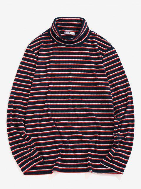 lady ZAFUL Turtleneck Striped Print Ribbed T-shirt - DEEP BLUE XL Mobile