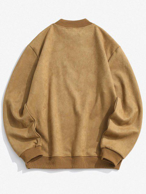 online Smile Face Embroidered Suede Sweatshirt - LIGHT BROWN S Mobile